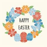 Ευτυχής ευχετήρια κάρτα Πάσχας, floral στεφάνι Στοκ Εικόνες