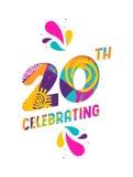 Ευτυχής ευχετήρια κάρτα περικοπών εγγράφου εορτασμού 20 ετών διανυσματική απεικόνιση