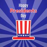 Ευτυχής ευχετήρια κάρτα, πρόσκληση ή έμβλημα Προέδρων Day Αμερικανικό καπέλο κυρίων με τα λωρίδες και τα αστέρια Επίπεδη αυτοκόλλ Στοκ φωτογραφία με δικαίωμα ελεύθερης χρήσης