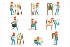 Ευτυχής ζωγραφική καλλιτεχνών χαμόγελου στο σύνολο καμβά Ταλαντούχες διανυσματικές απεικονίσεις χαρακτήρα ζωγράφων ζωηρόχρωμες ελεύθερη απεικόνιση δικαιώματος
