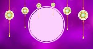 Ευτυχής ζωτικότητα χαιρετισμού Raksha Bandhan με το ένωση διακοσμημένο με χάντρες χρυσό rakhi φιλμ μικρού μήκους