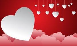 Ευτυχής ημέρα βαλεντίνων, επιπλέον σώμα μορφής καρδιών στον ουρανό Στοκ Εικόνες