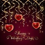 Ευτυχής ημέρα βαλεντίνων με tinsel και τις καρδιές στο σκοτεινό υπόβαθρο Στοκ Φωτογραφία