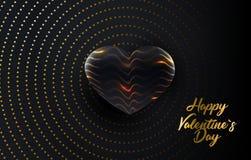 Ευτυχής ημέρα βαλεντίνων s Διανυσματική απεικόνιση διακοπών των χρυσών επιστολών εγγράφου με μια κατασκευασμένη μαύρη μορφή καρδι ελεύθερη απεικόνιση δικαιώματος