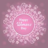 Ευτυχής ημέρα γυναικών ` s 8 Μαρτίου ανθίστε το πλαίσιο Σχέδιο έννοιας για μια πώληση διακοπών, ευχετήριες κάρτες, αυτοκόλλητες ε διανυσματική απεικόνιση