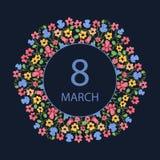 Ευτυχής ημέρα γυναικών ` s 8 Μαρτίου Πολύχρωμο στεφάνι λουλουδιών Σχέδιο για μια πώληση διακοπών, ευχετήριες κάρτες, προσκλήσεις διανυσματική απεικόνιση
