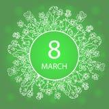 Ευτυχής ημέρα γυναικών ` s 8 Μαρτίου Πλαίσιο με τα λουλούδια και τα χορτάρια Σχέδιο για μια πώληση άνοιξη, ευχετήριες κάρτες, ιπτ ελεύθερη απεικόνιση δικαιώματος