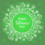 Ευτυχής ημέρα γυναικών ` s 8 Μαρτίου Πλαίσιο λουλουδιών και χλόης Σχέδιο για μια πώληση διακοπών, ευχετήριες κάρτες, ιπτάμενα, πρ ελεύθερη απεικόνιση δικαιώματος