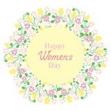 Ευτυχής ημέρα γυναικών ` s 8 Μαρτίου Στεφάνι λουλουδιών και χλόης Σχέδιο για μια πώληση διακοπών, ευχετήριες κάρτες, ιπτάμενα, πρ Διανυσματική απεικόνιση