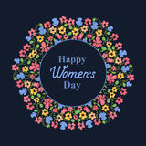 Ευτυχής ημέρα γυναικών ` s 8 Μαρτίου Floral στεφάνι σε ένα μπλε υπόβαθρο Σχέδιο για μια πώληση διακοπών, ευχετήριες κάρτες, προσκ Διανυσματική απεικόνιση