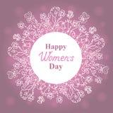 Ευτυχής ημέρα γυναικών ` s 8 Μαρτίου Floral στεφάνι Σχέδιο έννοιας για μια πώληση διακοπών, ευχετήριες κάρτες, αυτοκόλλητες ετικέ διανυσματική απεικόνιση