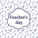Ευτυχής ημέρα δασκάλων ` s Η επιγραφή στο υπόβαθρο με το scho Στοκ Φωτογραφίες