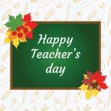 Ευτυχής ημέρα δασκάλων ` s Πίνακας με τα συγχαρητήρια, λιβάδι φθινοπώρου Στοκ Φωτογραφίες