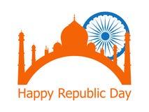 Ευτυχής ημέρα Δημοκρατίας της Ινδίας 26 Ιανουαρίου Ashoka Chakra διάνυσμα διανυσματική απεικόνιση