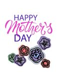 Ευτυχής ημέρα μητέρων Φράση χαιρετισμού διακοπών με τη floral διακόσμηση Εγγραφή χεριών και hand-drawn αφηρημένα λουλούδια απεικόνιση αποθεμάτων