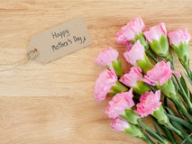 Ευτυχής ημέρα μητέρων ` s γραφής και λουλούδι 1 γαρίφαλων Στοκ Φωτογραφία