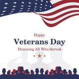 Ευτυχής ημέρα παλαιμάχων Ευχετήρια κάρτα με την ΑΜΕΡΙΚΑΝΙΚΗ σημαία και στρατιώτης στο υπόβαθρο Εθνικό αμερικανικό γεγονός διακοπώ διανυσματική απεικόνιση