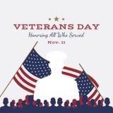 Ευτυχής ημέρα παλαιμάχων Ευχετήρια κάρτα με την ΑΜΕΡΙΚΑΝΙΚΗ σημαία και στρατιώτης στο υπόβαθρο Εθνικό αμερικανικό γεγονός διακοπώ ελεύθερη απεικόνιση δικαιώματος