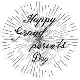 Ευτυχής ημέρα παππούδων και γιαγιάδων, συρμένη χέρι εγγραφή, διάνυσμα Στοκ Εικόνα