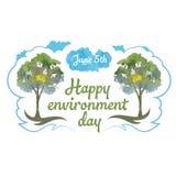 Ευτυχής ημέρα περιβάλλοντος 5 Ιουνίου δέντρα και σύννεφο watercolor Στοκ Εικόνα