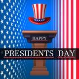 Ευτυχής ημέρα Προέδρου ` s Με έναν στενό διάδρομο, αμερικανικό καπέλο θείου Sen's στο υπόβαθρο της αμερικανικής σημαίας επίσης  ελεύθερη απεικόνιση δικαιώματος