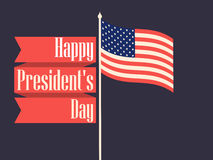 Ευτυχής ημέρα Προέδρων Αναδρομικό έμβλημα με τη αμερικανική σημαία και το κείμενο διάνυσμα Στοκ Φωτογραφίες