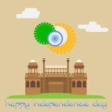 Ευτυχής ημέρα της ανεξαρτησίας Κόκκινο οχυρό Ινδία Διανυσματικό EPS8 Στοκ Εικόνες