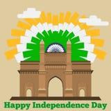 Ευτυχής ημέρα της ανεξαρτησίας Πύλη Ινδία διανυσματικό EPS8f Στοκ Εικόνες