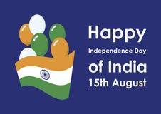 Ευτυχής ημέρα της ανεξαρτησίας του διανύσματος της Ινδίας Στοκ εικόνα με δικαίωμα ελεύθερης χρήσης