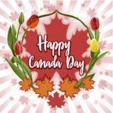 Ευτυχής ημέρα του Καναδά - κάρτα, αφίσα ή έμβλημα 1 Ιουλίου Στοκ εικόνα με δικαίωμα ελεύθερης χρήσης