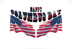 Ευτυχής ημέρα του Columbus με δύο αμερικανικές σημαίες Στοκ εικόνες με δικαίωμα ελεύθερης χρήσης