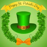 Ευτυχής ημέρα του ST Πάτρικ ` s Εορταστική ζωηρόχρωμη αφίσα διανυσματική απεικόνιση