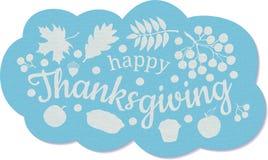 ευτυχής ημέρα των ευχαριστιών απαγορευμένα Μπλε ναυτικό σύννεφο με την επιγραφή, ένας κλάδος και μούρα της τέφρας βουνών, φύλλα τ ελεύθερη απεικόνιση δικαιώματος