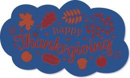 ευτυχής ημέρα των ευχαριστιών απαγορευμένα Μπλε ναυτικό σύννεφο με την επιγραφή, ένας κλάδος και μούρα της τέφρας βουνών, φύλλα τ διανυσματική απεικόνιση