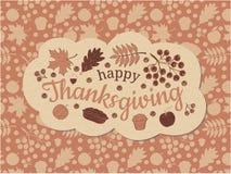ευτυχής ημέρα των ευχαριστιών απαγορευμένα Στο μέτωπο είναι ένα μπεζ σύννεφο με την επιγραφή, ένας κλάδος και μούρα της τέφρας βο ελεύθερη απεικόνιση δικαιώματος