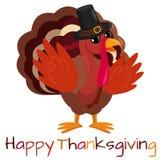 ευτυχής ημέρα των ευχαριστιών Ευχετήρια κάρτα με τα χαριτωμένα κινούμενα σχέδια Τουρκία απεικόνιση αποθεμάτων