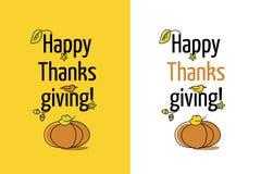 Ευτυχής ημέρα των ευχαριστιών ευχετήριων καρτών με την κολοκύθα και την άδεια ελεύθερη απεικόνιση δικαιώματος