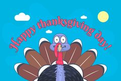 Ευτυχής ημέρα των ευχαριστιών και χαριτωμένη Τουρκία με τα μεγάλα μάτια ελεύθερη απεικόνιση δικαιώματος