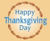 Ευτυχής ημέρα των ευχαριστιών μέσα στον κύκλο με το καφετί φύλλο Στοκ Εικόνα