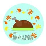 Ευτυχής ημέρα των ευχαριστιών Τουρκία στο πιάτο με τα πεσμένα φύλλα φθινοπώρου απεικόνιση αποθεμάτων