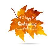 ευτυχής ημέρα των ευχαριστιών Φύλλο σφενδάμου στο τριγωνικό ύφος με την πεταγμένη σκιά