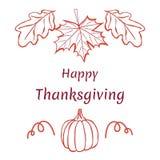 ευτυχής ημέρα των ευχαριστιών Hand-drawn σχέδιο με το σφένδαμνο και τα δρύινα φύλλα Στοκ Φωτογραφία