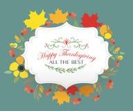 Ευτυχής ημέρα των ευχαριστιών logotype, διακριτικό και εικονίδιο Στοκ Εικόνες
