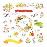Ευτυχής ημέρα των ευχαριστιών logotype, σύνολο διακριτικών και εικονιδίων Στοκ Εικόνα