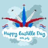Ευτυχής ημέρα Bastille δεδομένου ότι η διαθέσιμη απεικόνιση σχηματισμού αρχείων πετώντας αναβλύζει jpg διάνυσμα Κόκκινο, άσπρο κα Στοκ Εικόνες