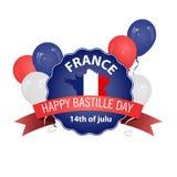 Ευτυχής ημέρα Bastille, στις 14 Ιουλίου Εθνική μέρα της Γαλλίας s Viva Κατάλληλος για το σχέδιο της αφίσας σας, του εμβλήματος, τ απεικόνιση αποθεμάτων