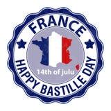 Ευτυχής ημέρα Bastille, στις 14 Ιουλίου Εθνική μέρα της Γαλλίας s Viva Κατάλληλος για το σχέδιο της αφίσας σας, του εμβλήματος, τ διανυσματική απεικόνιση