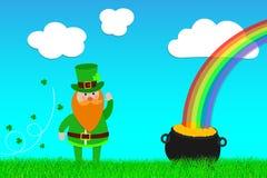 Ευτυχής ημέρα Leprechaun του ST Πάτρικ και δοχείο του χρυσού στην έννοια χλόης της κάρτας ελεύθερη απεικόνιση δικαιώματος