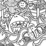 Ευτυχής θάλασσα Doodle Στοκ Εικόνες
