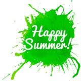 Ευτυχής θερινή εγγραφή στην πράσινη σταγόνα watercolor Στοκ φωτογραφίες με δικαίωμα ελεύθερης χρήσης